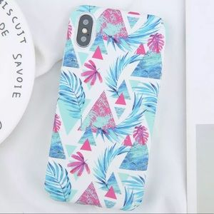 Accessories - NEW iPhone 7/8 Blue Pink Leaves Palm Hard PC Case